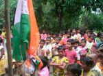 Celibrating India's national day at Satavisha primary school